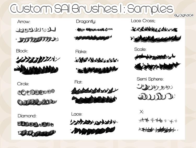 多種不同形狀和樣式的筆刷下載