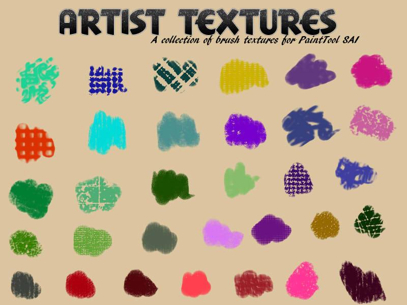 擁有30種不同紋理質感的材質筆刷