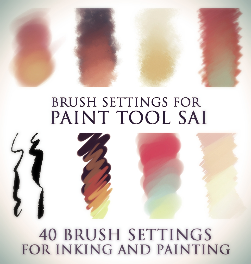 這些筆刷都是適合畫漸層用的SAI筆刷,有40種不同的畫法