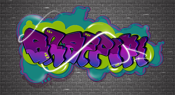 這款PS的字體設計比較屬於街頭的塗鴉藝術字體,模仿美式街頭設計