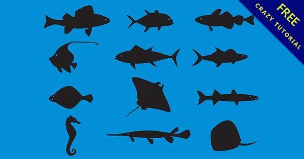 【魚剪影】22款完整的魚剪影圖案下載