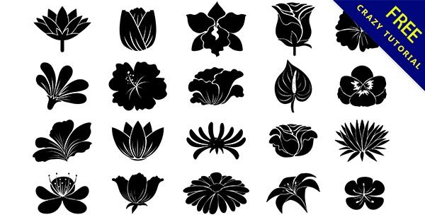 【花剪影】花朵推薦:17個黑白的花朵剪影圖下載