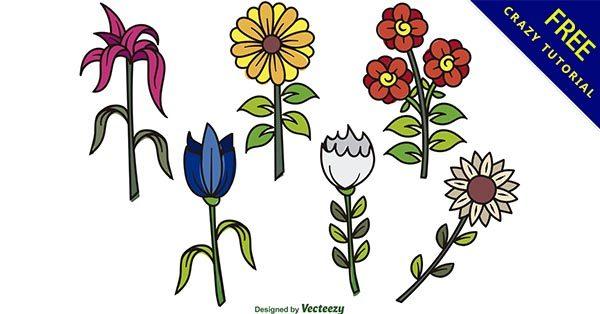 【花卡通】強烈推薦:35張可愛的花朵卡通圖下載