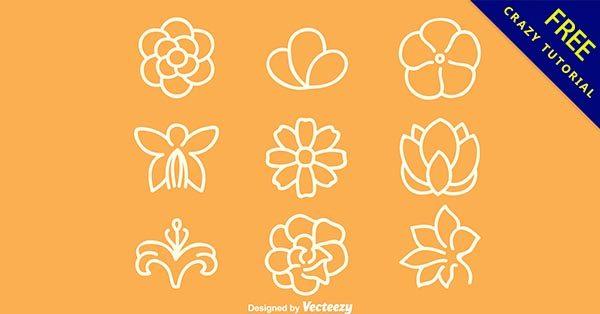 【花線條】可愛推薦:28套手繪的花朵線條下載