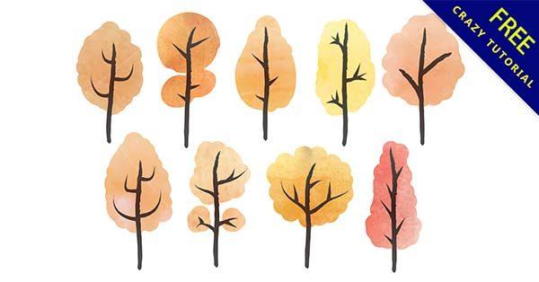 【樹水彩】水彩推薦:22個手繪的樹水彩圖案下載
