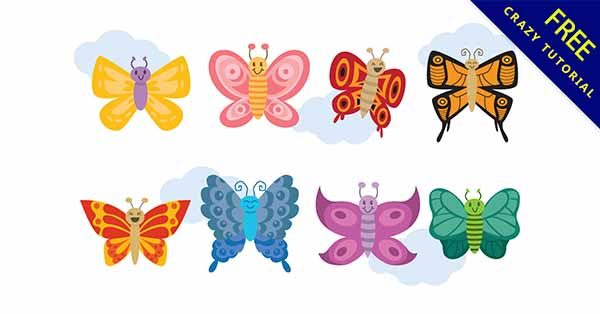 【卡通蝴蝶】素材推薦:29款可愛的卡通蝴蝶圖下載