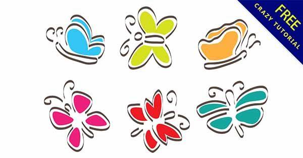 【蝴蝶卡通】素材推薦:39張可愛的蝴蝶卡通圖下載