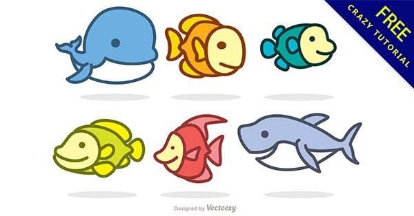【魚素材】素材推薦:32套卡通的魚素材圖案下載